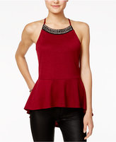 Miss Chievous Juniors' Embellished High-Low Peplum Top