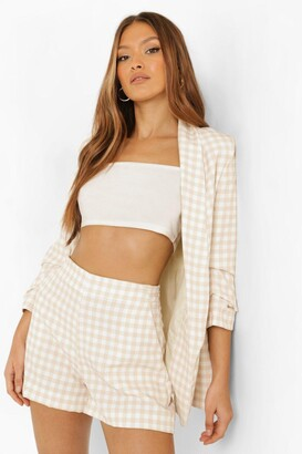 boohoo Gingham Ruched Sleeve Tailored Blazer