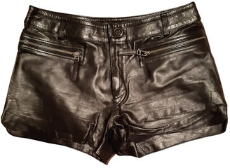 Supertrash Black Leather Shorts for Women