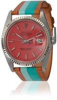La Californienne Mint Pink Palm Rolex steel and leather watch