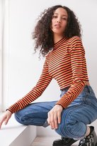 Silence & Noise Silence + Noise Striped Cropped Turtleneck Sweater