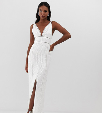 Asos Tall DESIGN Tall sequin maxi dress with ladder trim-White