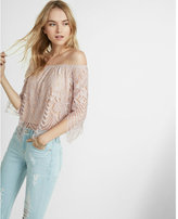 Express All-over Lace Off The Shoulder Tee