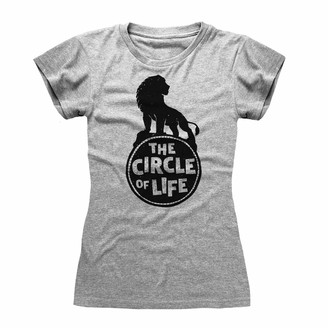 Popgear Disney The Lion King 2019 Circle of Life Women's Fitted T-Shirt Heather Grey S | S-XXL Ladies Fashion Slim Fitting Top Birthday Gifts Mum Daughter Sister Gift Idea