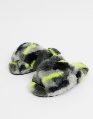 Sorel Go cross strap fluffy slippers in multi