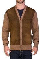 Prada Men's Wool Lamb Skin Cardigan Sweater Brown.