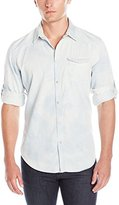 Calvin Klein Jeans Men's White Wave Denim Long Sleeve Button Down Shirt