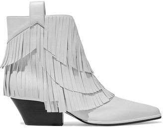 Sergio Rossi Sr Carla 45 Fringed Leather Ankle Boots