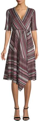 Gabby Skye Striped Asymmetrical Wrap Dress