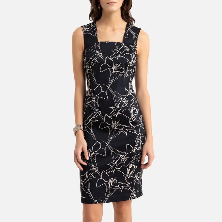 Anne Weyburn Cotton Shift Dress in Floral Print