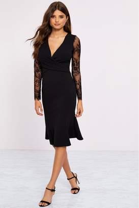 Lipsy Petite Longsleeve Eyelash Wrap Dress - 6 - Black