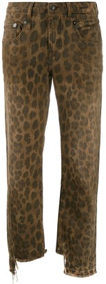 R 13 Leopard Print Cropped Jeans