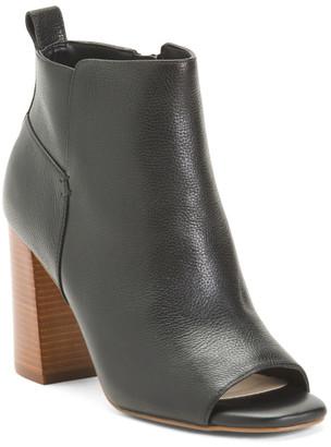 Comfort Peep Toe Stacked Heel Leather Booties