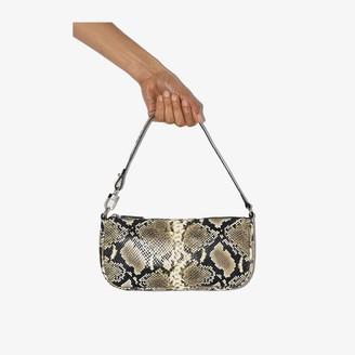 BY FAR beige Rachel snake print leather shoulder bag