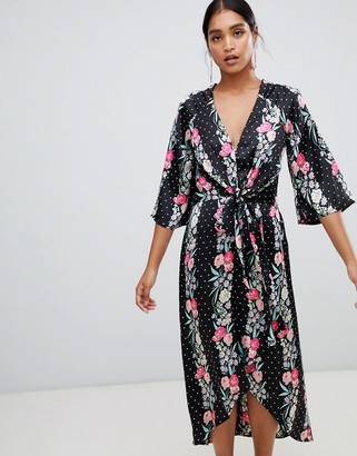 Liquorish floral and polka dot print wrap maxi dress-Black