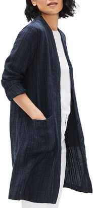Eileen Fisher Plus Size Textured Stripe Long Organic Linen Jacket