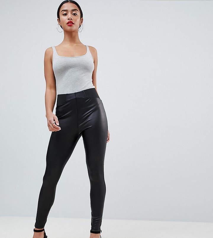 Asos DESIGN Petite leather look leggings with elastic slim waist