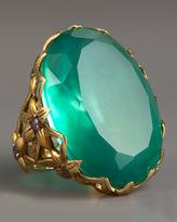 Large Agate & Delphinium Ring