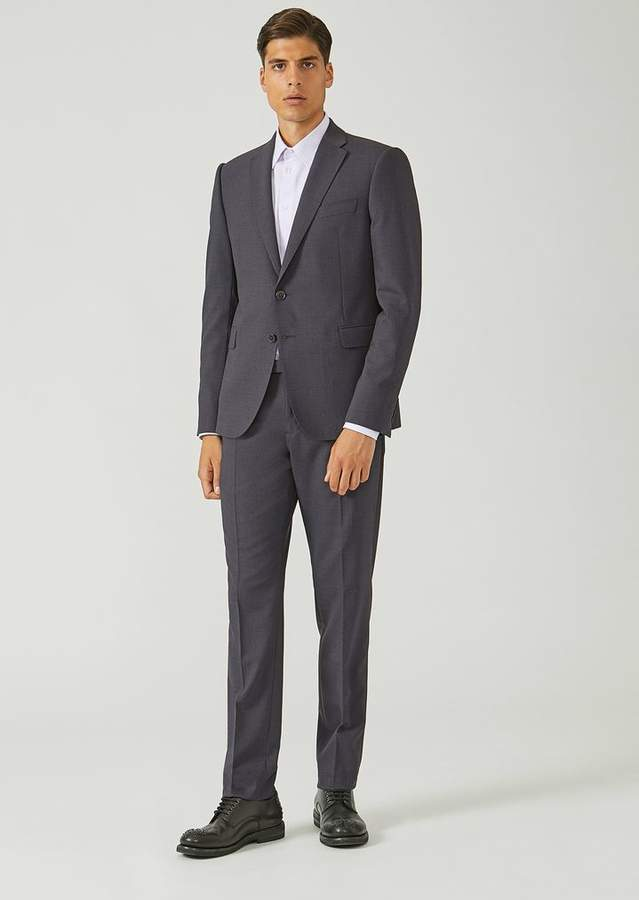 Emporio Armani Slim Fit Suit In Wool Blend With A Single-Breasted Jacket