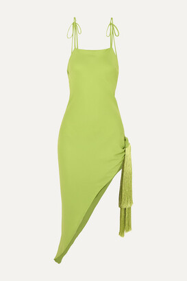 Cult Gaia Giselle Asymmetric Tasseled Crepe Midi Dress - Green