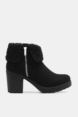 Ardene Faux Suede Track Ankle Boots - Shoes |