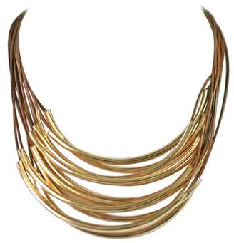 """Zirconmania Zirconite Multi-Strand Layered Leather Cord with Metal Tubes Draped Necklace - 18"""" - Brown/Gold"""