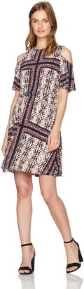 Maggy London Women's Petite Printed Jersey Fit and Flare