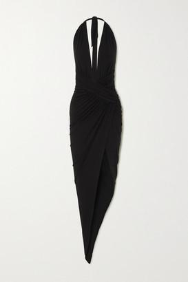 Alexandre Vauthier Asymmetric Ruched Stretch-jersey Halterneck Gown - Black