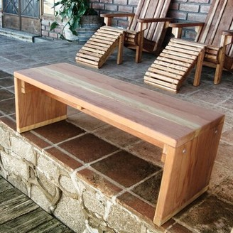 """Rosecliff Heights Montserrat Wooden Pinic Bench Size: 17"""" H x 36"""" W x 11"""" D, Color: Clear"""
