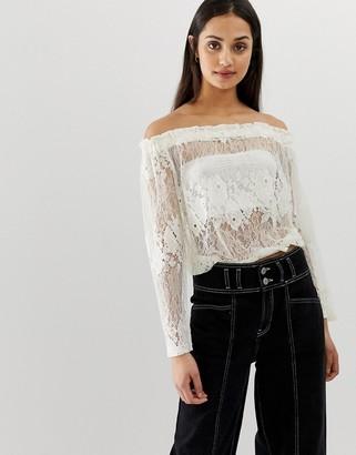 QED London lace off shoulder top