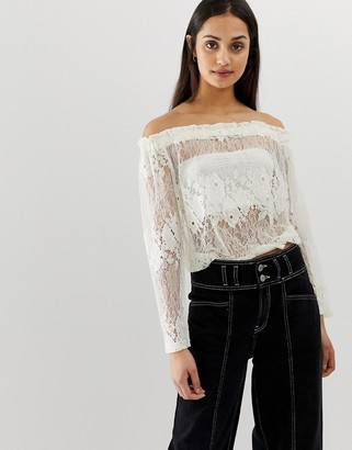 Qed London QED London lace off shoulder top-Cream