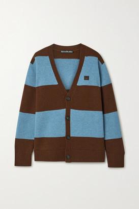 Acne Studios Appliqued Striped Wool Cardigan - Blue