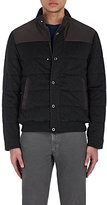 Luciano Barbera MEN'S LEATHER-YOKE QUILTED CASHMERE JACKET