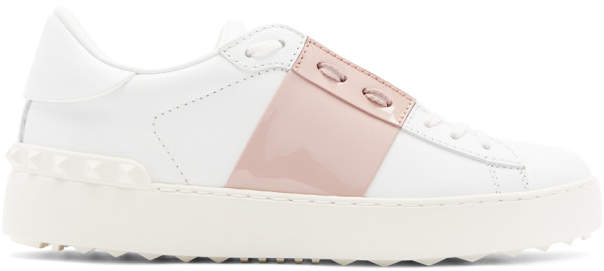 Valentino White and Pink Garavani Rockstud Open Sneakers