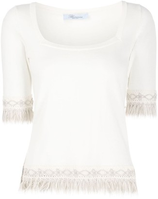 Blumarine Fringed Knitted Top