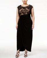 Connected Plus Size Soutache Faux-Wrap Gown