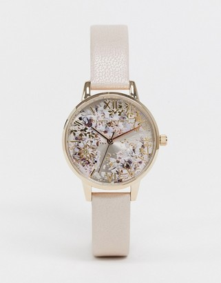 Olivia Burton OB16VM47 Abstract floral leather watch in pink