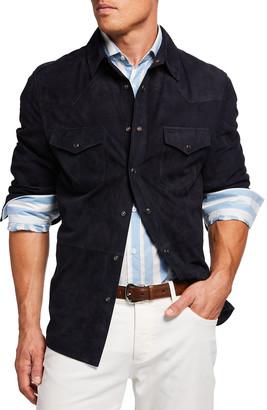 Brunello Cucinelli Men's Suede Western Shirt Jacket