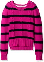 Nautica Big Girls Striped Seed Stitch Sweater with Cable Knit Detail
