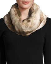 Neiman Marcus Faux-Fur Cowl Collar, Camel