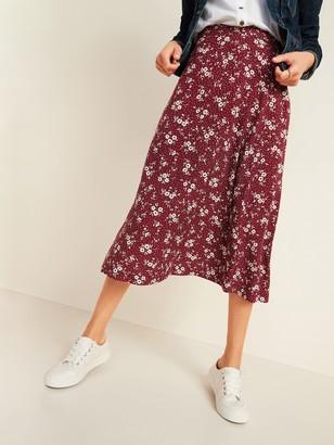 Old Navy High-Waisted Floral-Print Midi Slip Skirt for Women