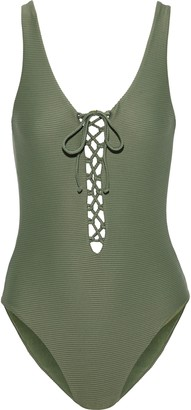 Onia Bridget Lace-up Ribbed Swimsuit