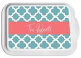The Well Appointed House Personalized Casserole Dish with Blue Quatrefoil Pattern