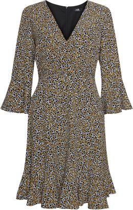 Wallis Yellow Ditsy Print Flute Sleeve Dress