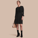 Burberry Ruffle Trim Crepe Dress