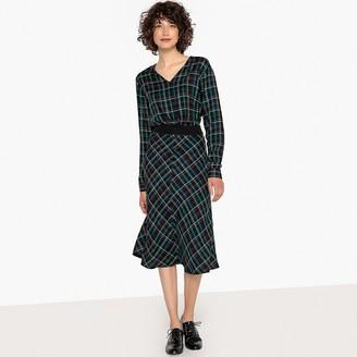 Checked Cinched Waist Midi Dress