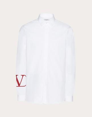 Valentino Shirt With Vlogo Print Man White/ Red Cotton 100% 38