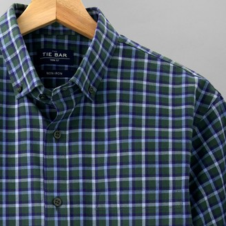 Tie Bar Gingham Flannel Hunter Green Casual Shirt