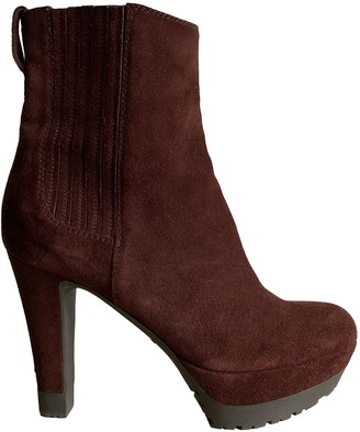 Sergio Rossi Burgundy Suede Ankle boots