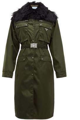 Prada Faux-fur Trim Single-breasted Nylon Coat - Womens - Green Multi